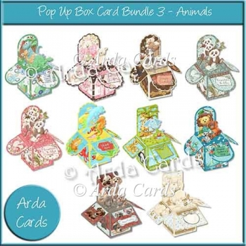 Pop Up Box Card Bundle 3 - Animals