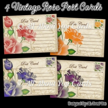 4 Vintage Rose Post Card Toppers