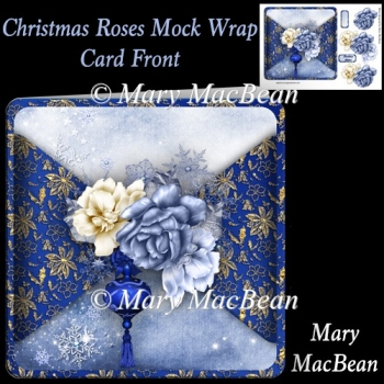 Christmas Roses Mock Wrap Card Front