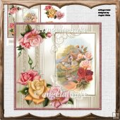 Cottage roses card with decoupage