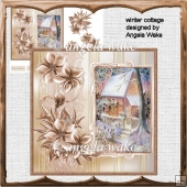 winter cottage card with decoupage