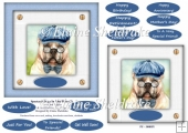 Spectacle Dogs In Blue Hats (2) - 6 x 6 Card Topper & Greetings
