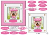 Spectacle Dogs In Pink Hats (3) - 6 x 6 Card Topper & Greetings