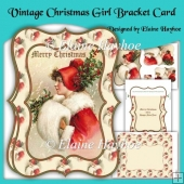 Vintage Christmas Girl Bracket Shaped Card