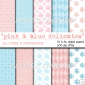 PINK & BLUE DELICATES - 10 printable digital A4 paper sheets