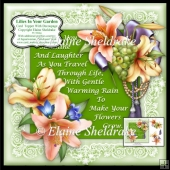 "Lilies In Your Garden - 7"" x 7"" Card Topper With Decoupage"