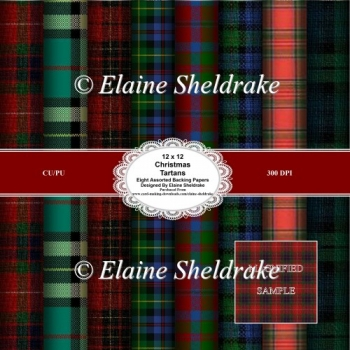 Christmas Tartans 12 x 12 Backing Paper Sheets For Paper Crafts