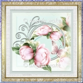 peony 7x7 card with decoupage