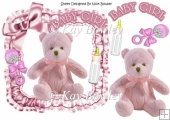 pink knitted bear in frill frame with bow 8x8