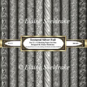 Textured Silver Foil - Ten 12 x 12 Papers Set One