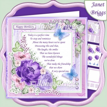 A PERFECT TIME Lilac 7.5 Decoupage & Insert Kit Various Occasion