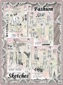Vintage Paris Fashion Sketches Collage Papers Set of 4