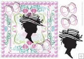 Lovely vintage silhouette lady with butterflies and pink pearls