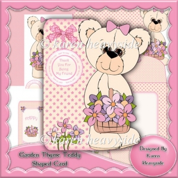 Garden Thyme Teddy Shaped Card