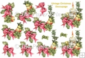 Christmas Candle Decoupage and Clipart Set. Commercial Use