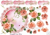 Pretty Pale Peach Camellia Scalloped Round Card Topper & Decoupa