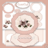 Pale roses frame easel card set
