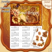SQUIRREL 2018 A4 USA Calendar with Decoupage Mini Kit Sun to Sat