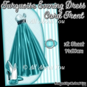 Turquoise Evening Dress Card Front