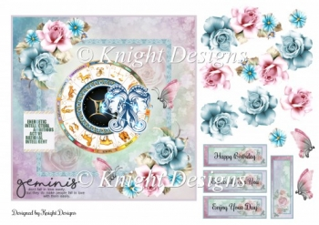 Gemini Zodiac Card Front With Decoupage