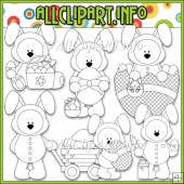 Funny Bunny Bears Commercial Use Digital Stamps