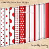 10 Red n White Spots n Stripes A4 Papers