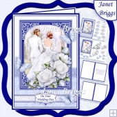 BRIDE & GROOM WEDDING DAY NAVY A5 Decoupage & Inserts Kit