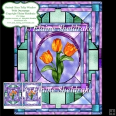 Stained Glass Tulip Window - Card Topper With Decoupage