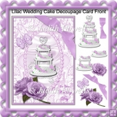 Lilac Wedding Cake Decoupage Card Front