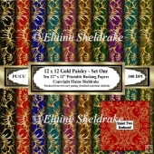 Gold Paisley - Set One- Ten 12 x 12 Printable Backing Papers
