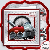 Motorbike Parts 8x8 Decoupage Kit