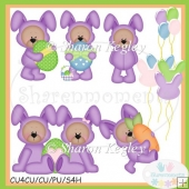 Easter Bear Bunny Purple 2 Clip Art