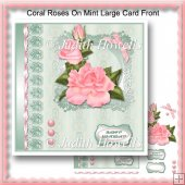 Coral Roses On Mint Large Card Front