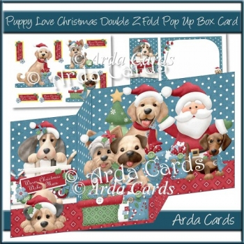 Puppy Love Christmas Double Z Fold Pop Up Box Card