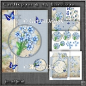 Vintage Blue Card With Lace Flowers and Butterflies 1246