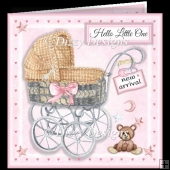 Baby Girl Wicker Carriage