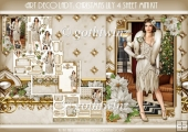 Art Deco Lady Lily Christmas 4 Sheet mini Kit Cream