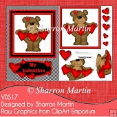 VDS16 Valentine Heart Bear A5 Card front