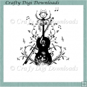 Violin Flourish Digital Stamp
