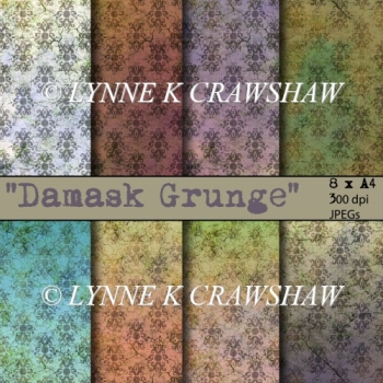 DAMASK Grunge - 8 digital A4 high quality printable papers