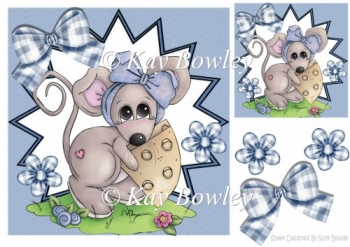 Cute little mouse with flowers in funky star frame 8x8