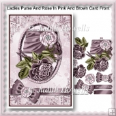 Ladies Purse And Rose In Pink And Brown Card Front