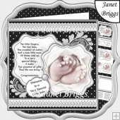 BABY TOES & VERSE Contemporary Black & White 7.5 Decoupage Kit