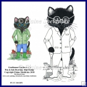 Gentleman Cat Gardener (1) Hand Drawn Pen & Ink Digital Stamp