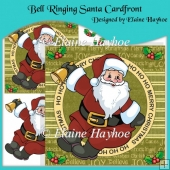 Bell Ringing Santa Cardfront with Decoupage