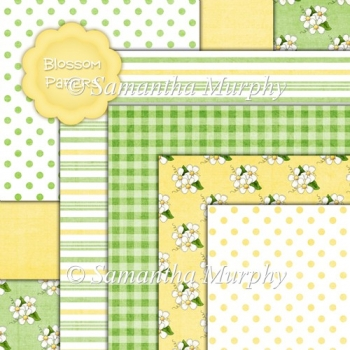 7 Blossom Backing Papers Download (c248)