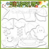Rainy Days Commercial Use Digital Stamps