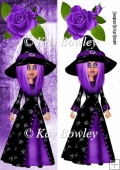 Spider witch with purple hair tall DL