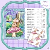 MUSHROOM MOUSE 2020 A4 UK Calendar with Decoupage Kit