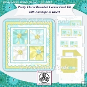 Pretty Floral 4 Squares Rounded Corner Complete Card Kit